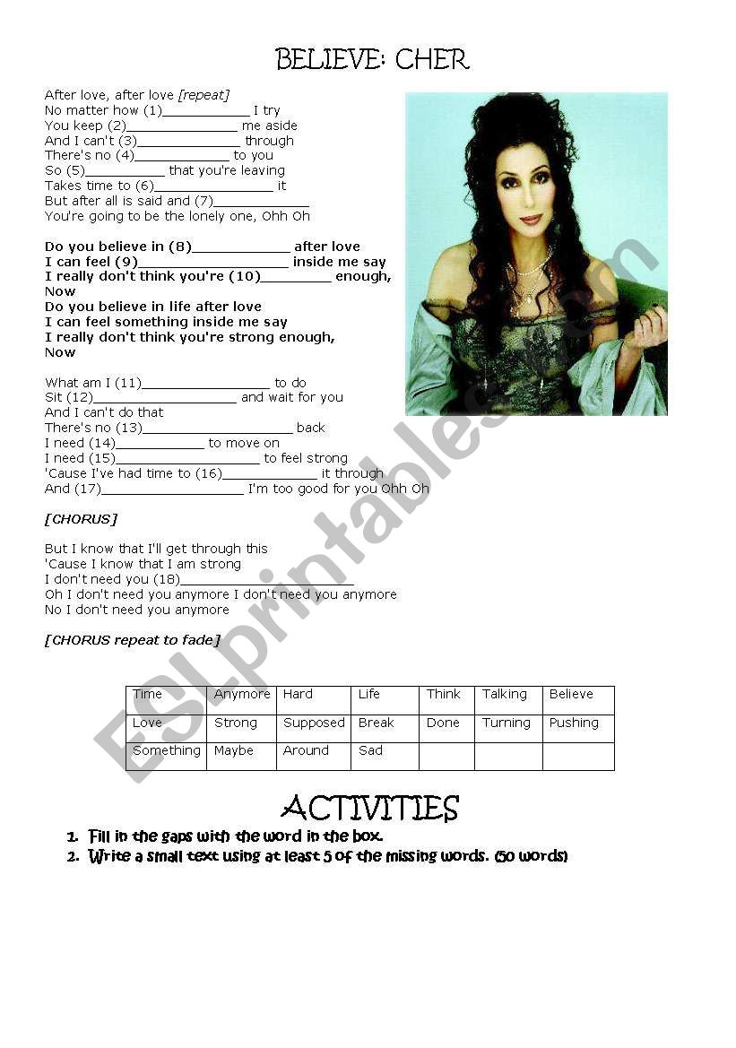 Cher (Believe) worksheet