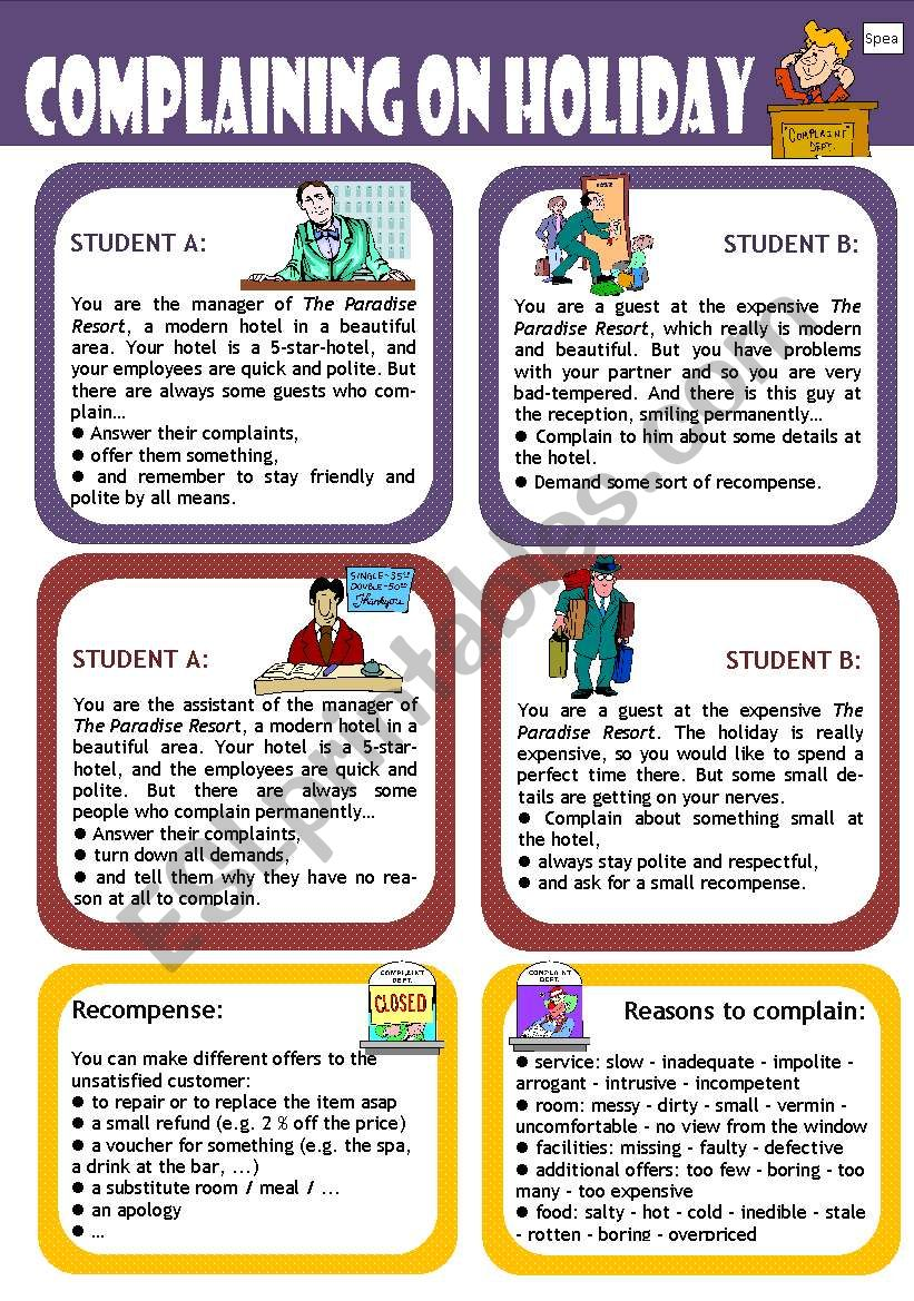 Role play for intermediate students: Complaining in a  holiday resort