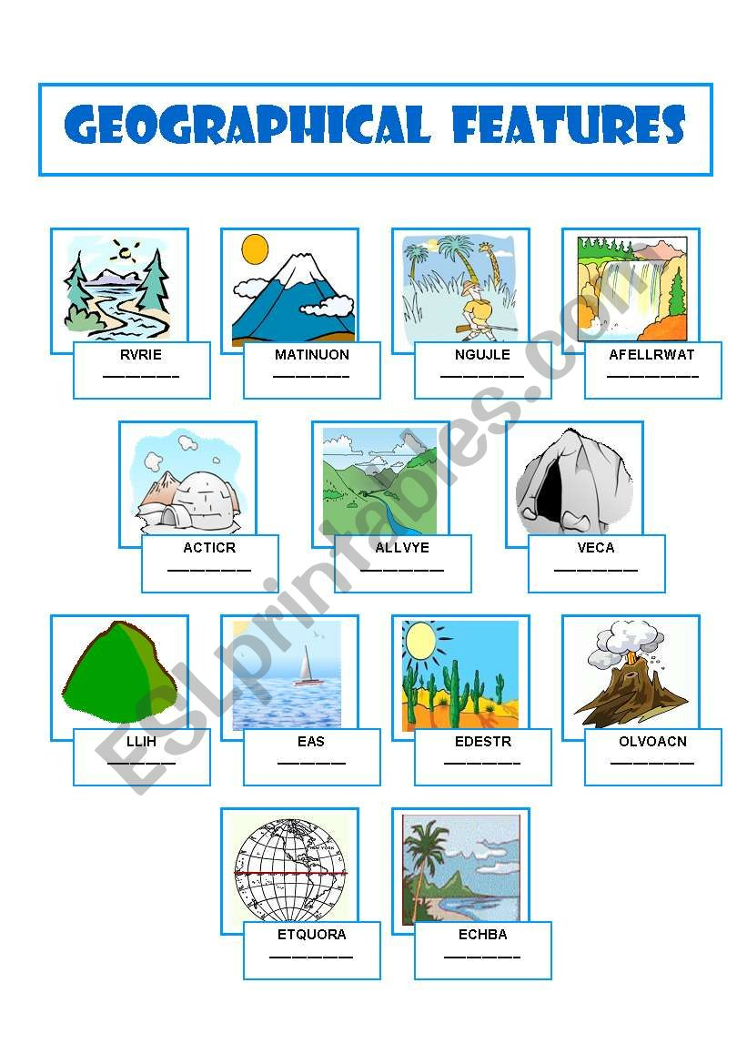 worksheet Geographical Features Worksheet english worksheets geographical features worksheet