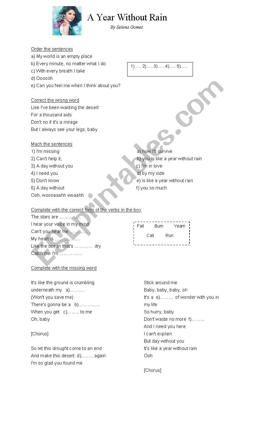 A year without rain worksheet