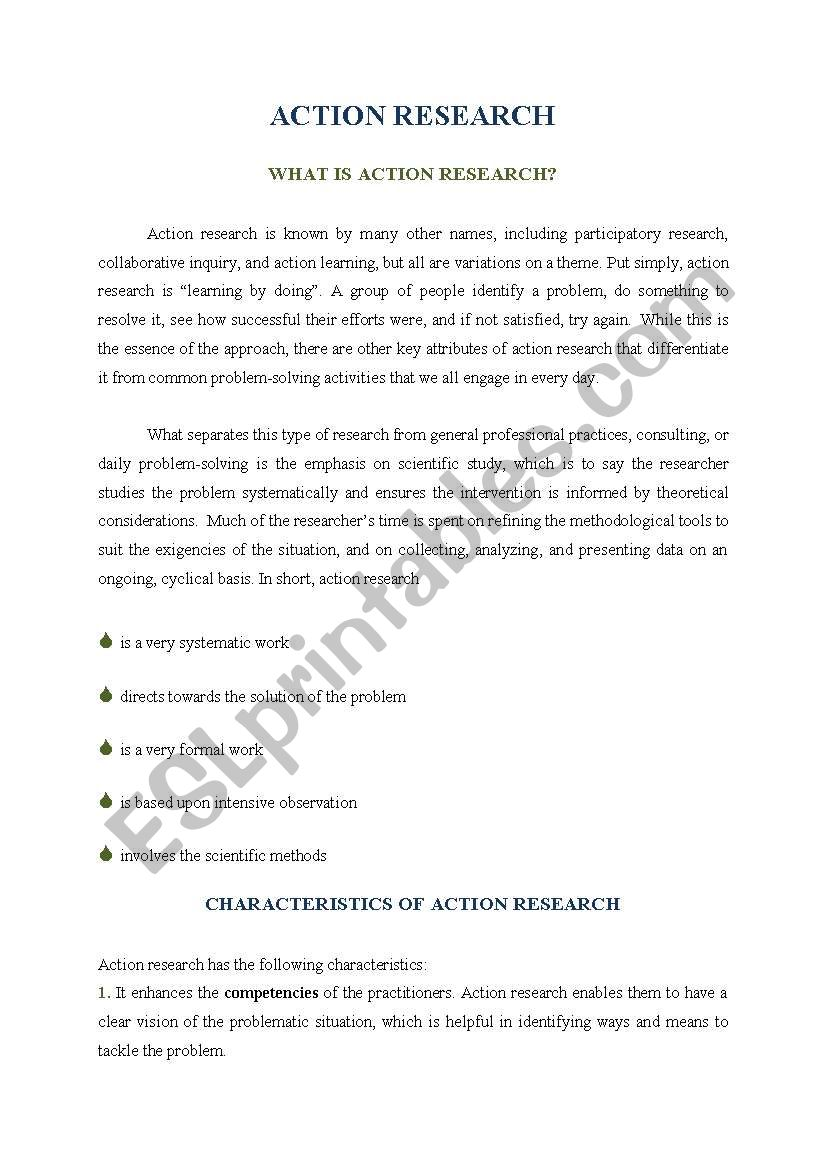 Action Research worksheet