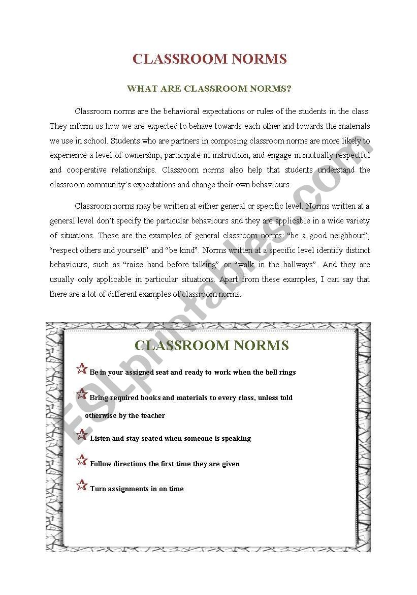 Classroom Norms worksheet