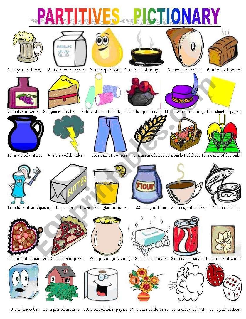 Partitives pictionary worksheet