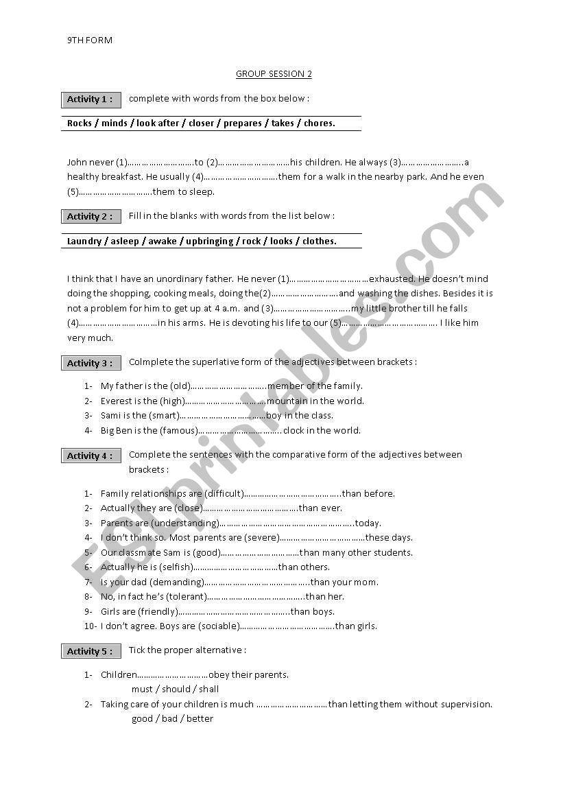 family issues worksheet