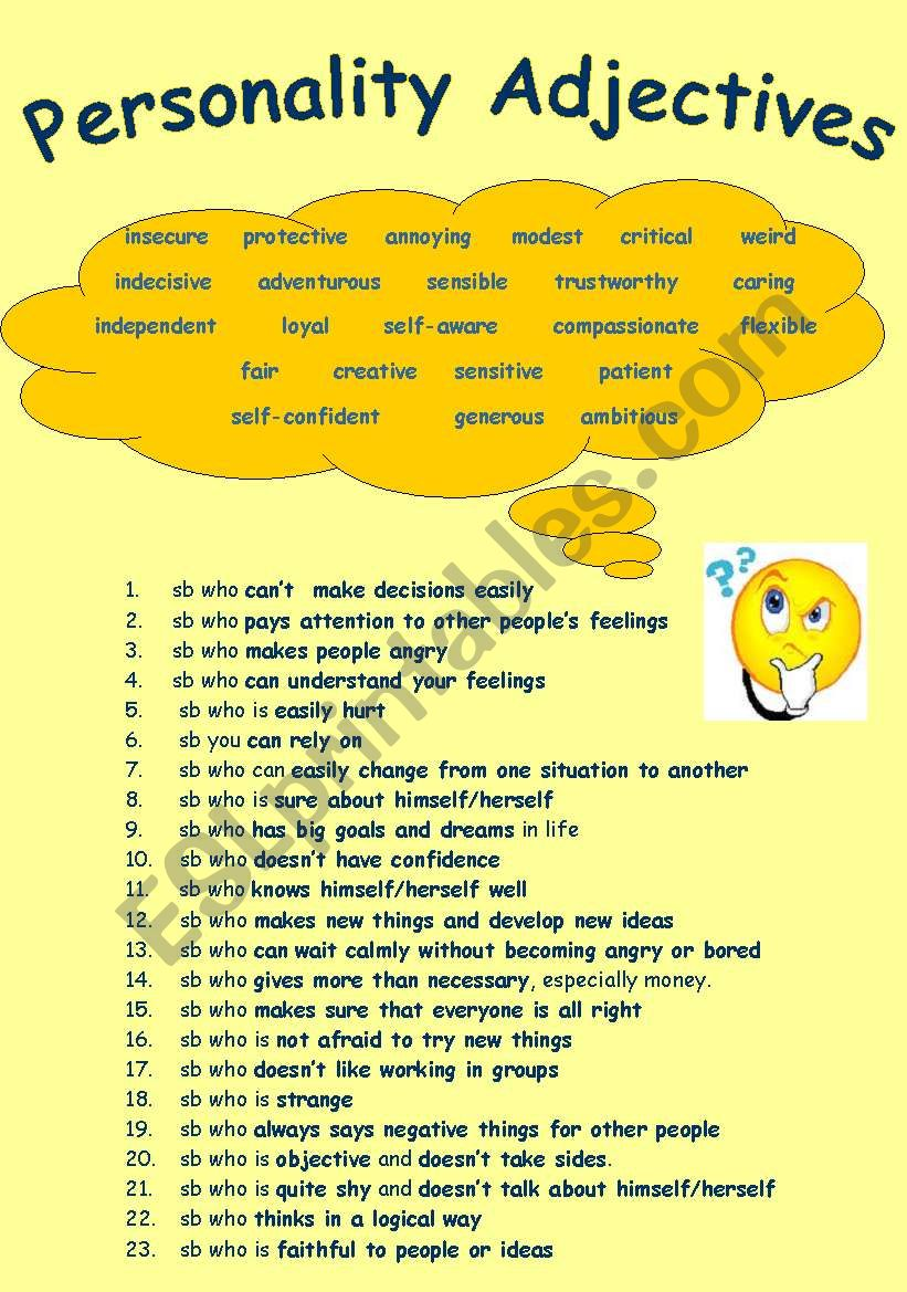 Personality Adjectives (Key is Provided)