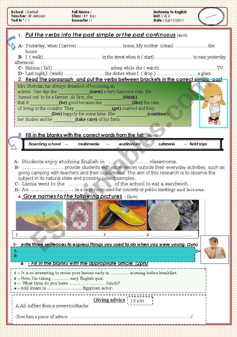 1 year bac test ( Test 1 simple past, past continuous, articles, used to and vocabulary)