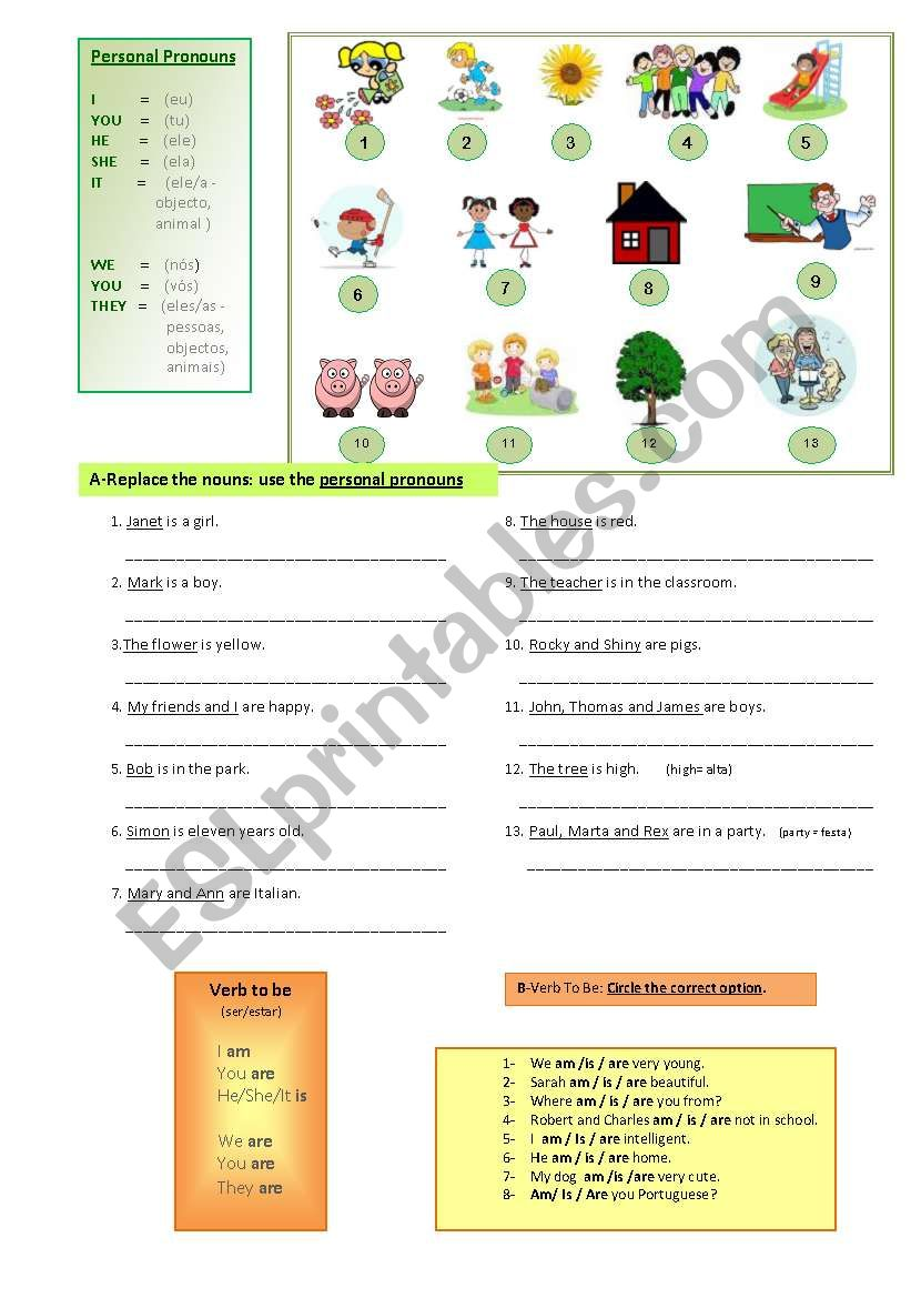 Personal Pronouns, verb To Be worksheet
