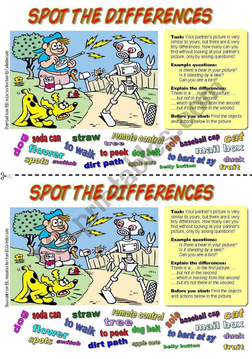 Spot the differences (4). Dog and Robot