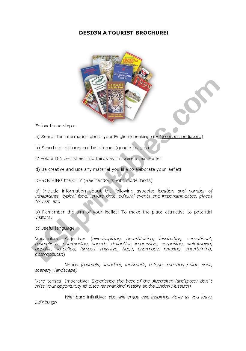 Design a tourist brochure! worksheet