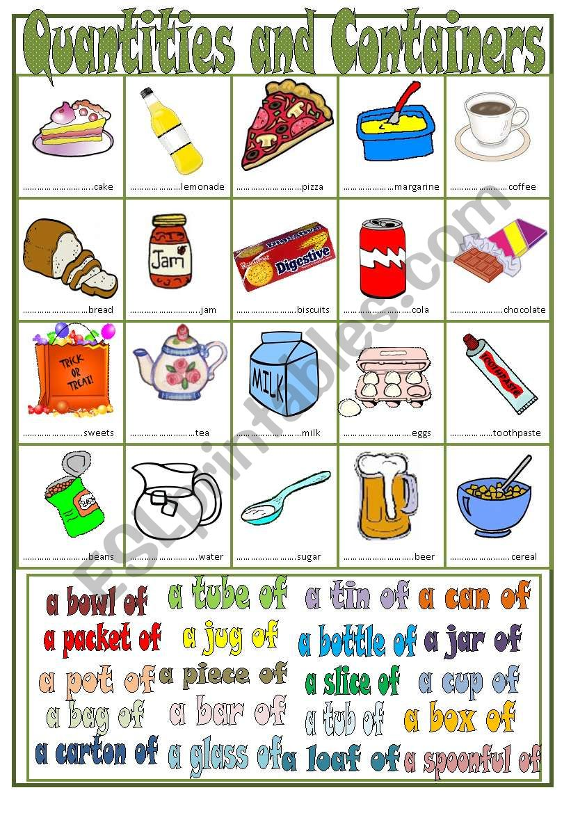 Quantities and Containers worksheet