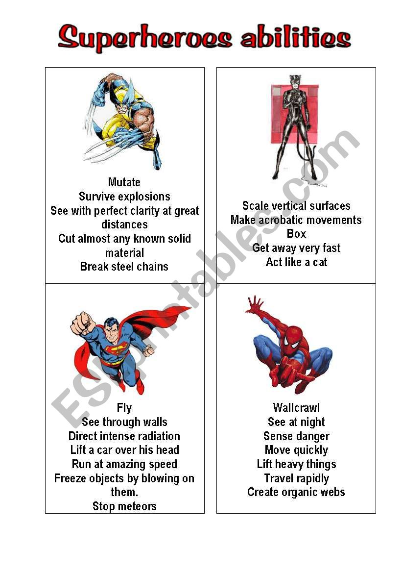 superheroes 1 worksheet