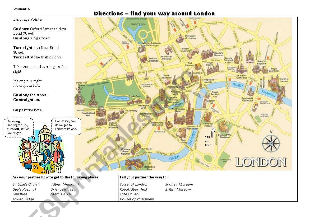 Directions - getting around London - speaking exercise (printer friendly))