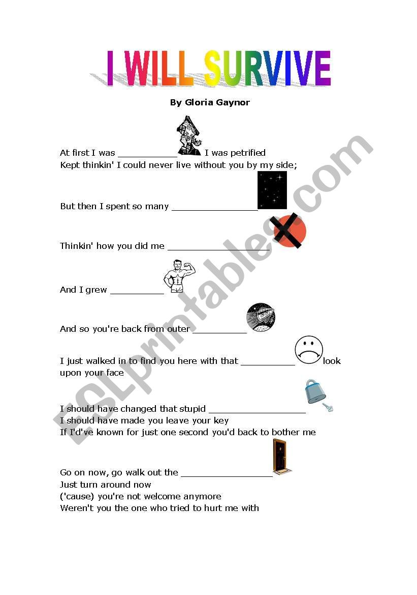 I will survive- song activity worksheet