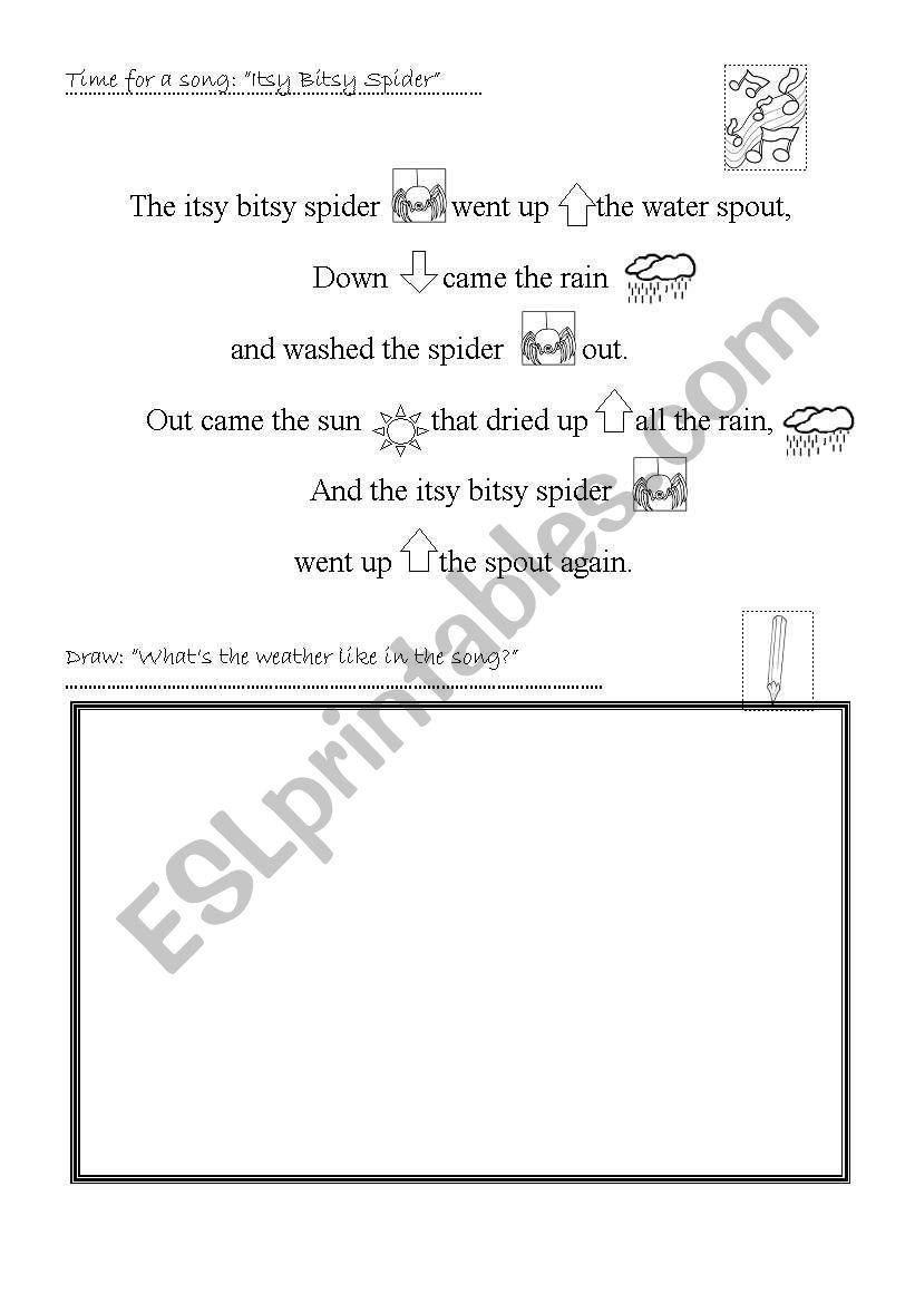 Itsy Bitsy Spider worksheet