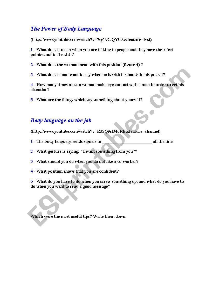 Body Language Worksheet Checks Worksheet