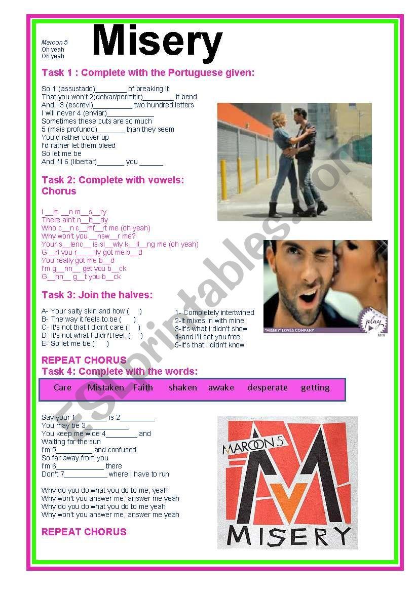 Misery Maroon 5 worksheet
