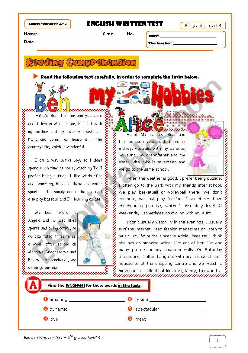 Hobbies Test (8th grade) + correction