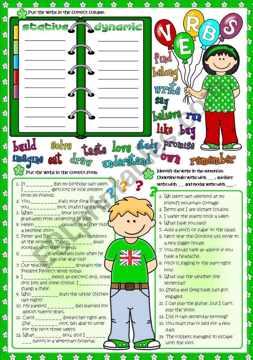 Parts of speech - VERBS (Greyscale & KEY included)