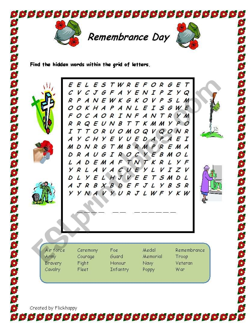 picture regarding Memorial Day Word Search Printable called Remembrance Working day -Wordsearch - ESL worksheet through Flickhappy