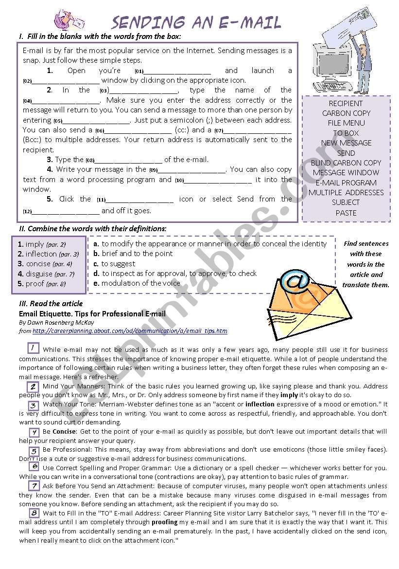 SENDING AN E-MAIL worksheet