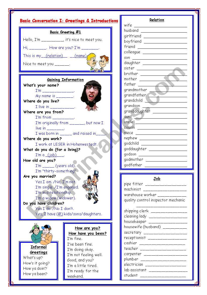 Basic conversation i greetings introductions family tree esl basic conversation i greetings introductions family tree thecheapjerseys Images
