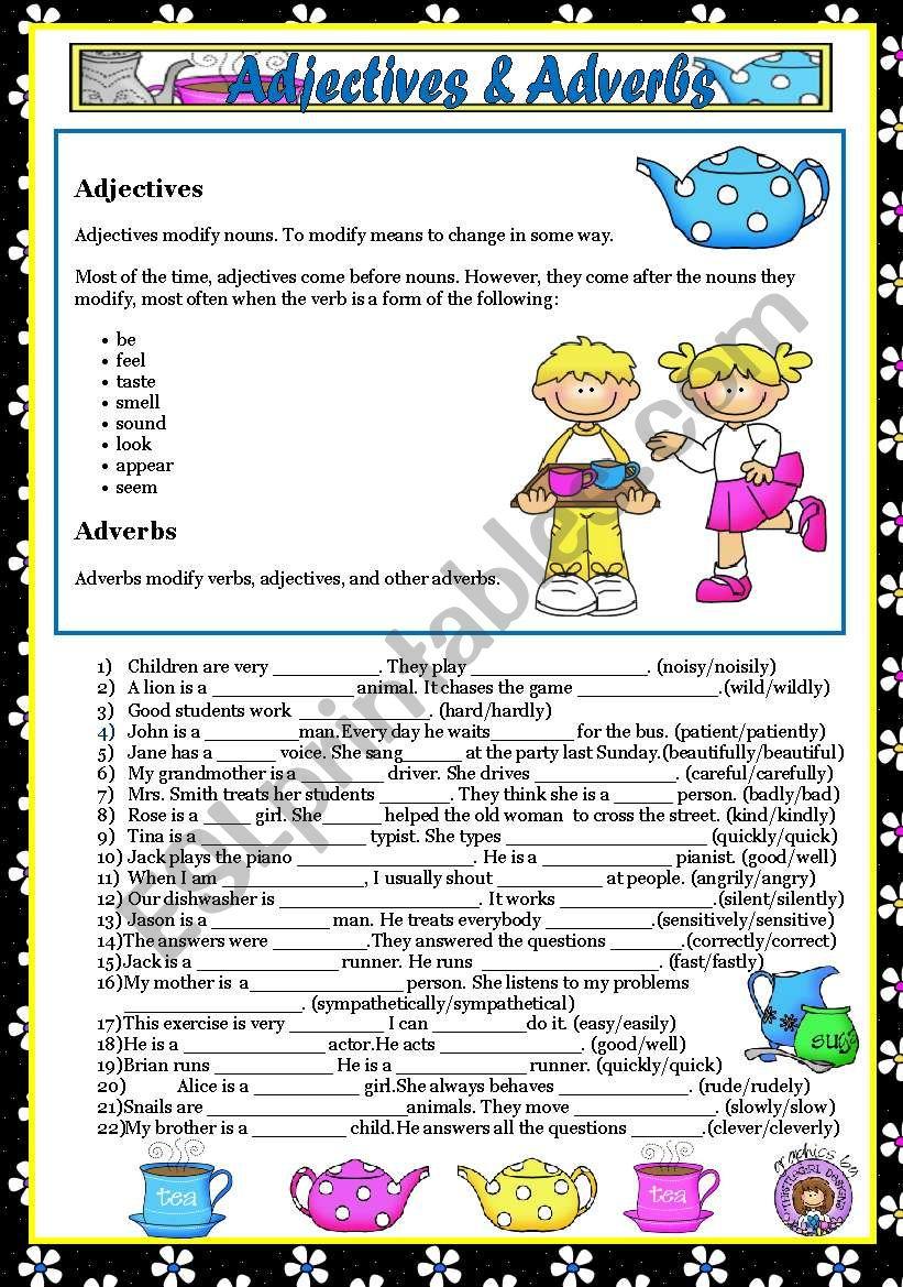 ADJECTIVES & ADVERBS + KEY worksheet