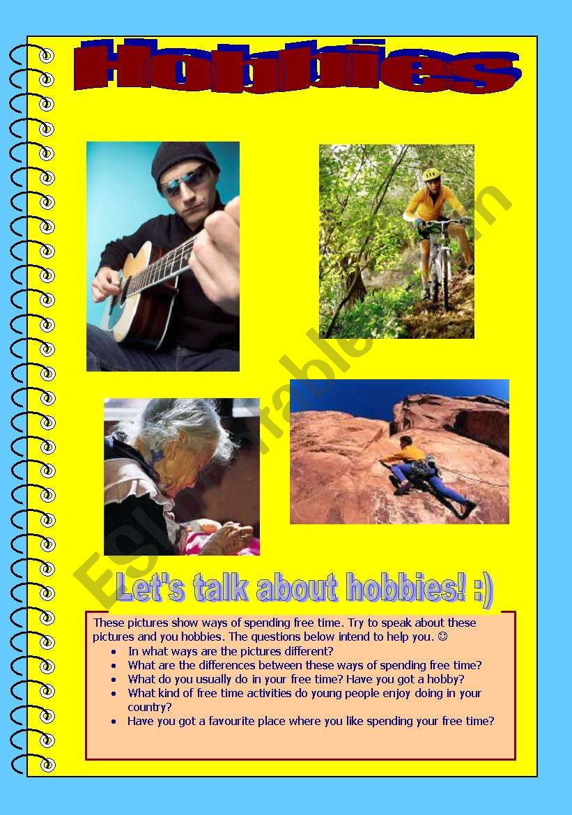 Guided speaking activity - hobbies and free time
