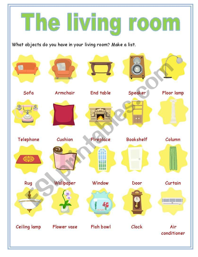 Objects in the Living Room - ESL worksheet by ivettemoreno