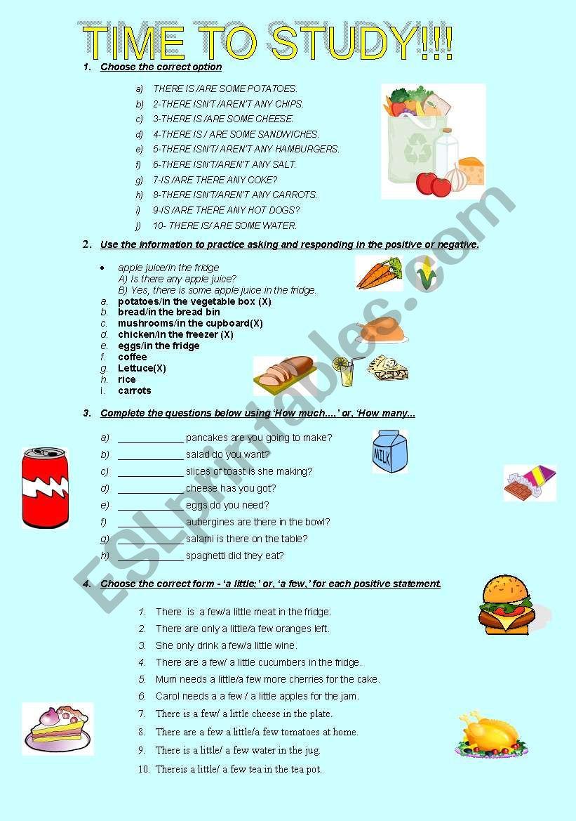 FOOD QUANTIFIERS worksheet