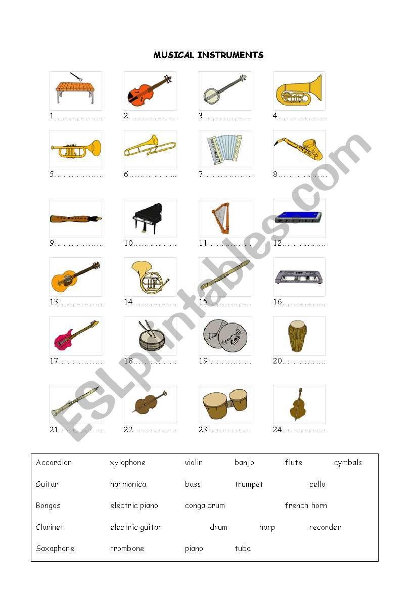 Create Your Own Instrument Worksheet : Musical instruments esl worksheet by lehrerin