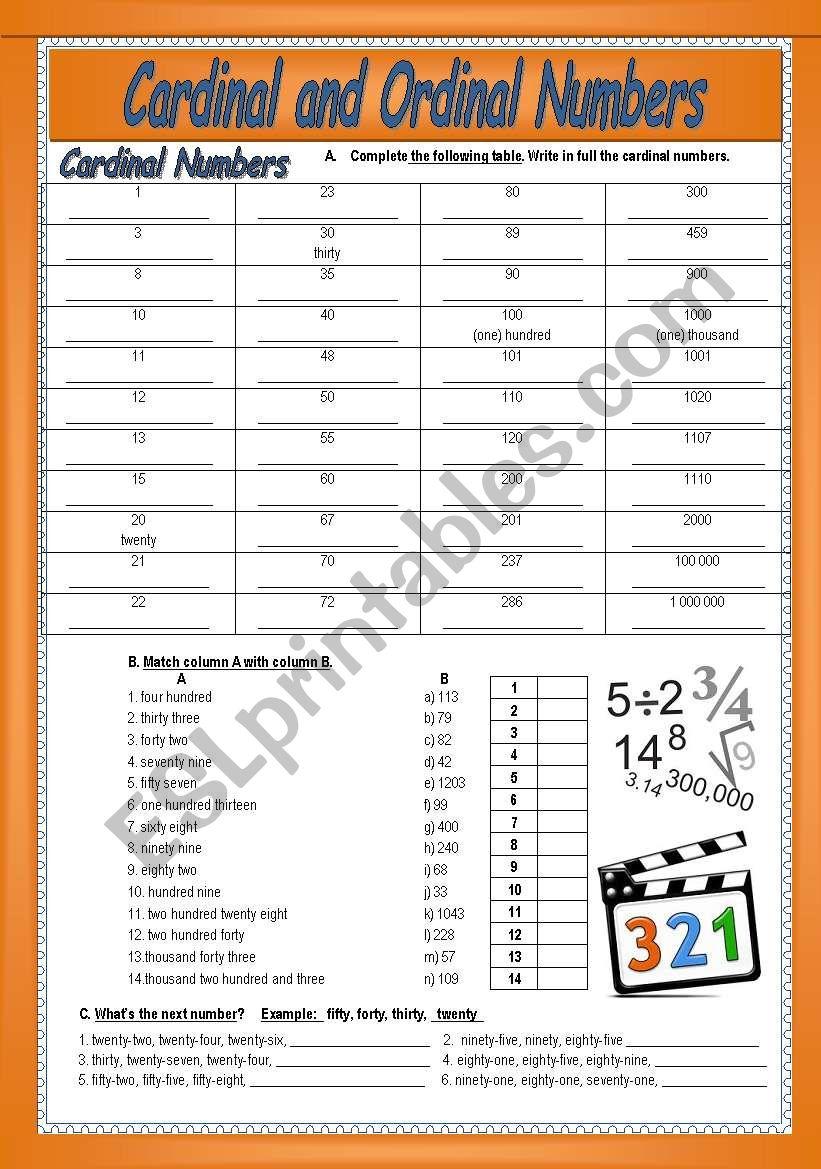 Cardinal and Ordinal numbers worksheet