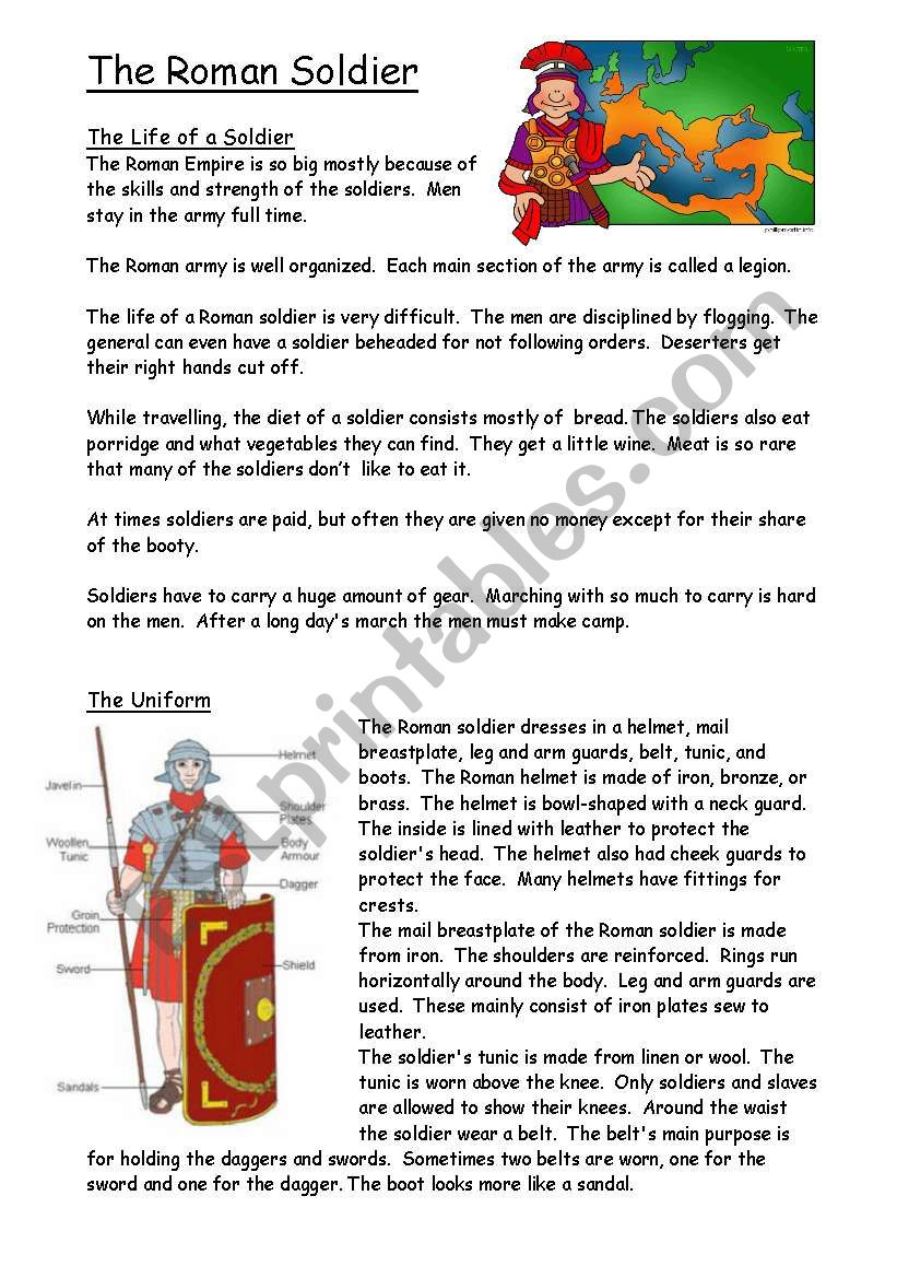 Roman soldier and army worksheet