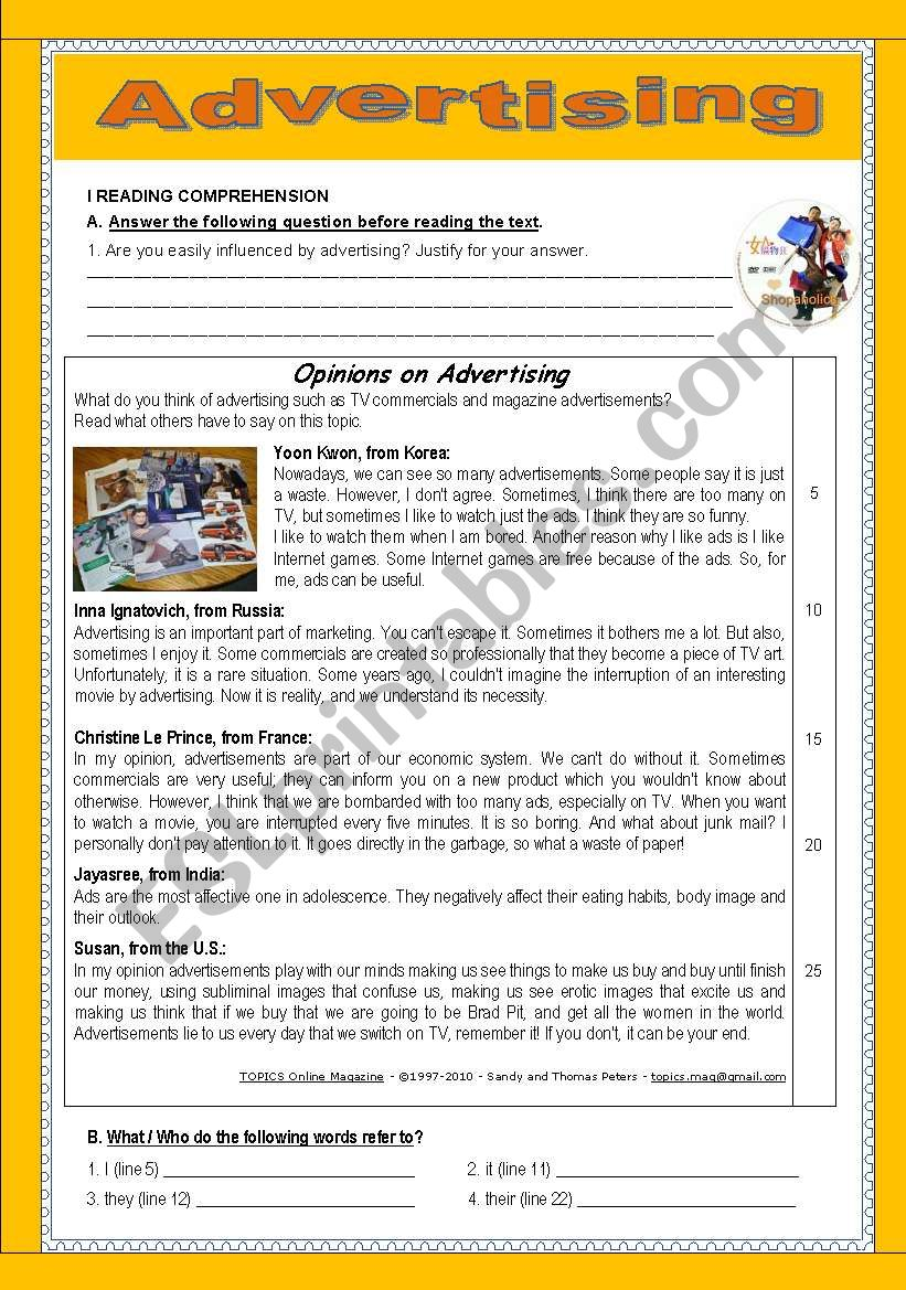 opinions on advertising worksheet