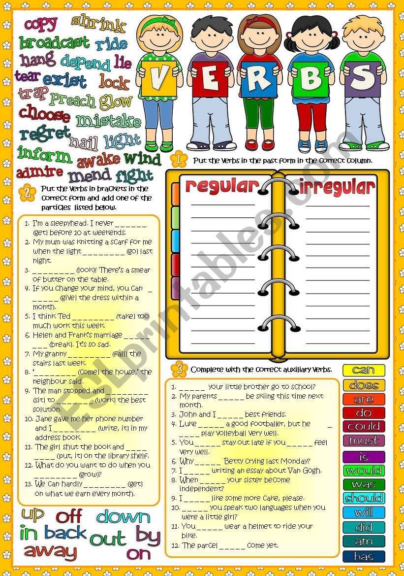 Parts of speech - VERBS 2 *Regular - Irrregular; Phrasal verbs; Auxiliary verbs* (Greyscale +KEY included)
