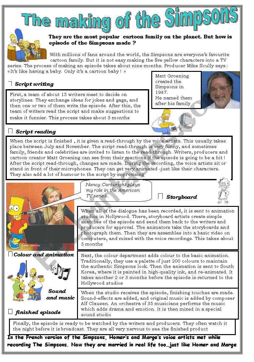 the making of the Simpsons. Reading activity ( First part 1/2)