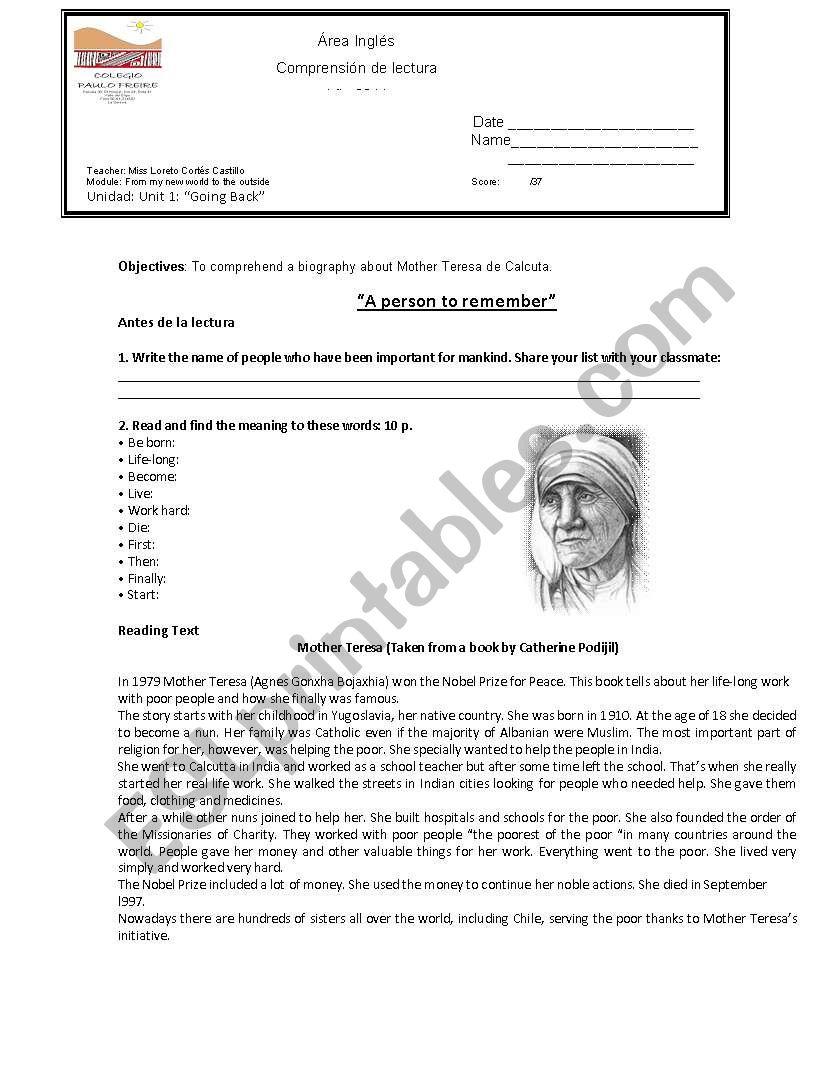 Mother Teresa reading comprehension