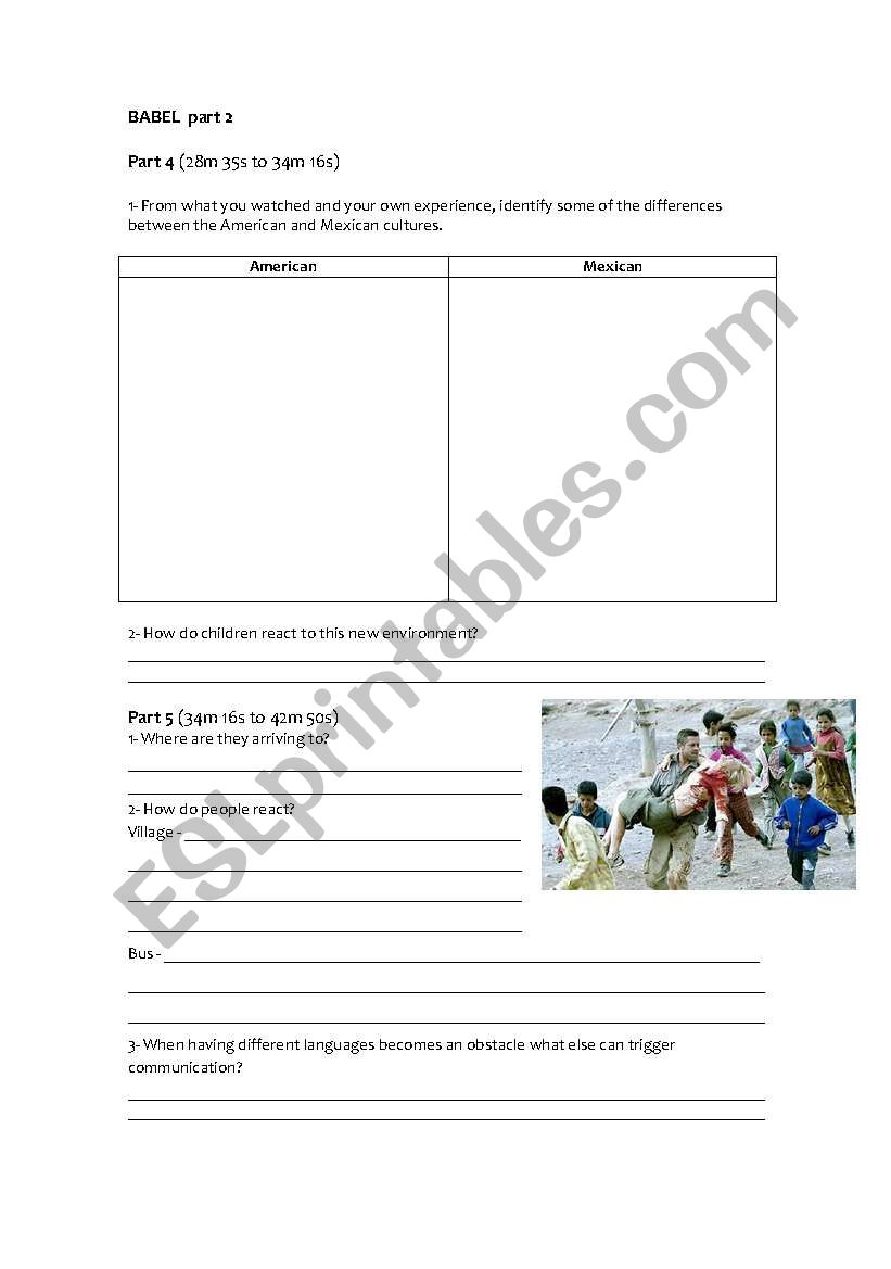 Babel worksheet part 2 worksheet