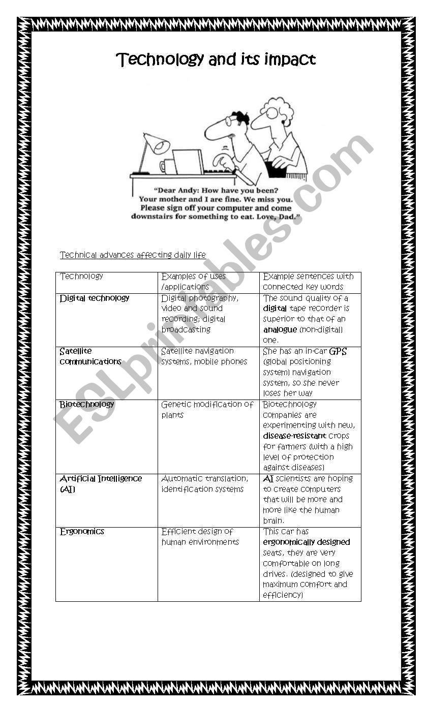 Technology and its impact - ESL worksheet by Babz777