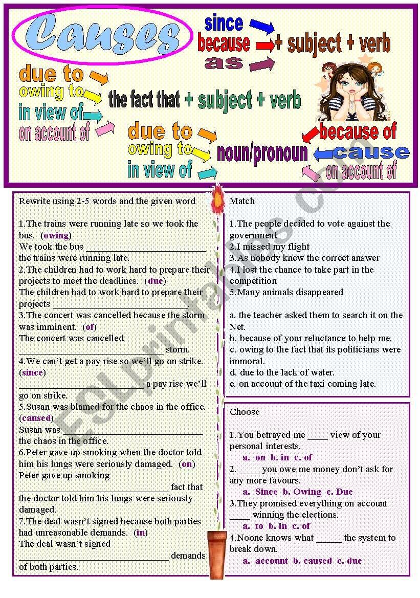 Causes worksheet