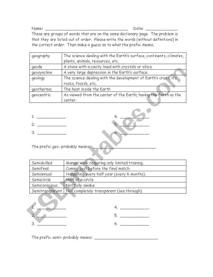 ABC Order with prefixes worksheet