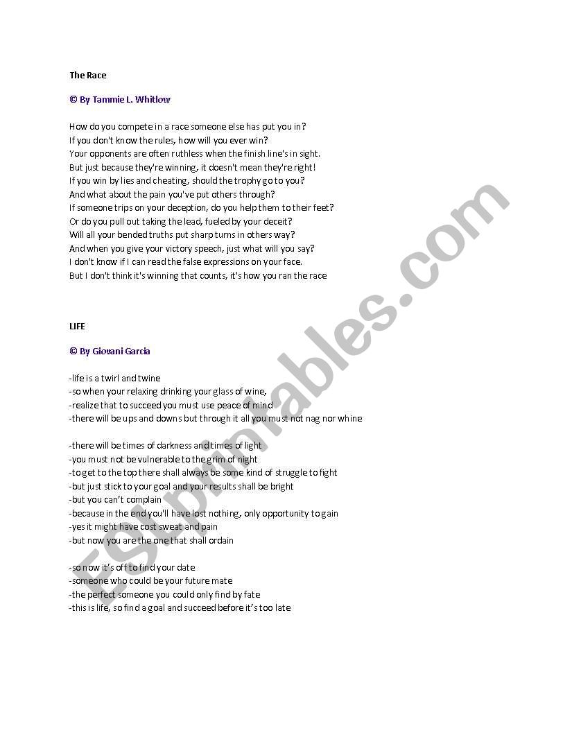 English Worksheets Poetry Analysis