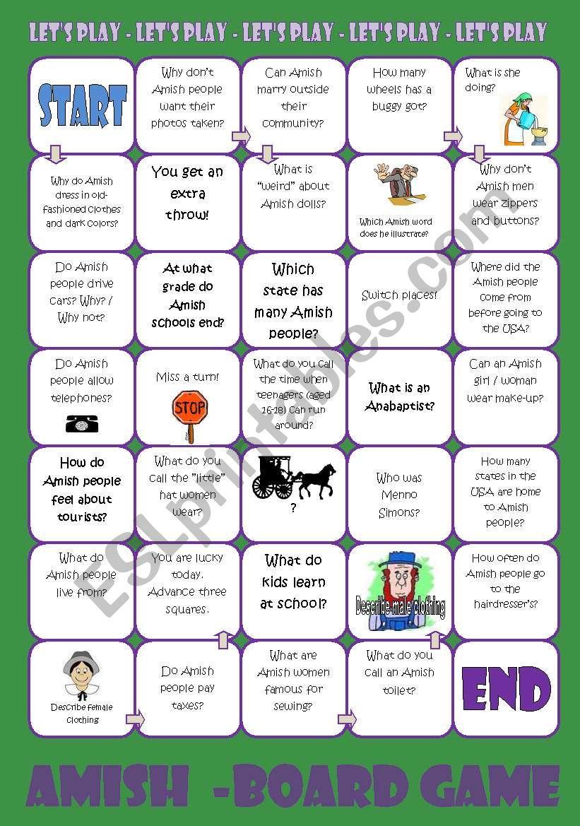 Amish Board Game worksheet