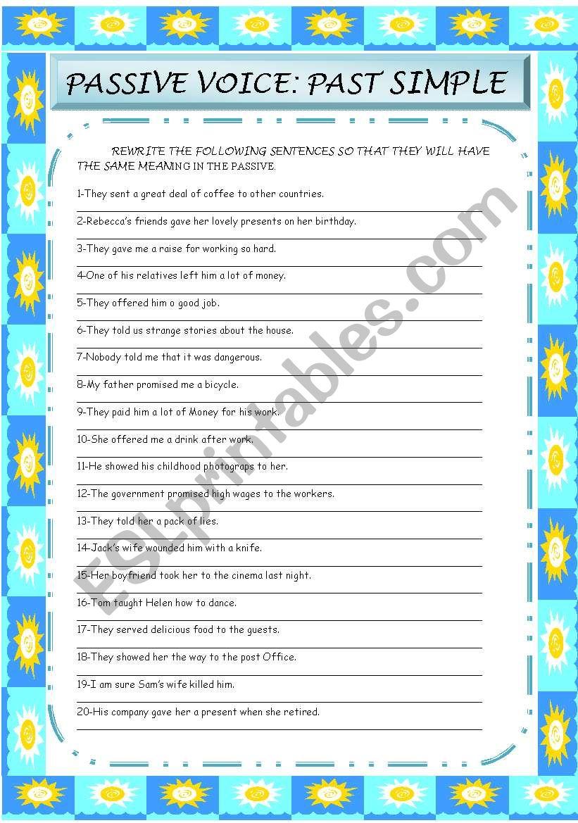 passive voice :past simple worksheet