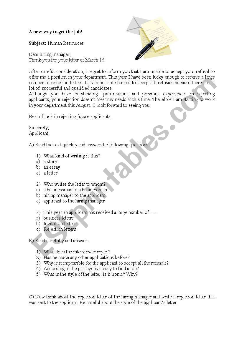 Response To Job Application Rejection Letter from www.eslprintables.com