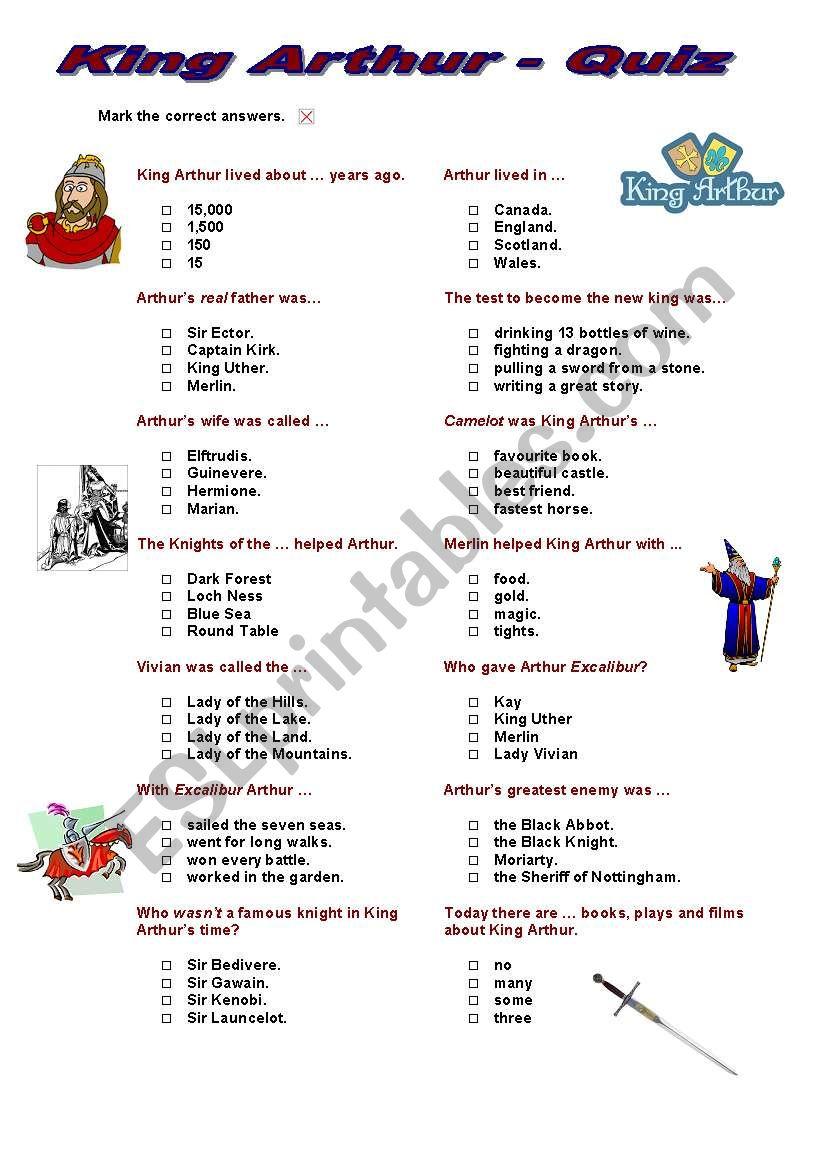 King Arthur Quiz (multiple choice)