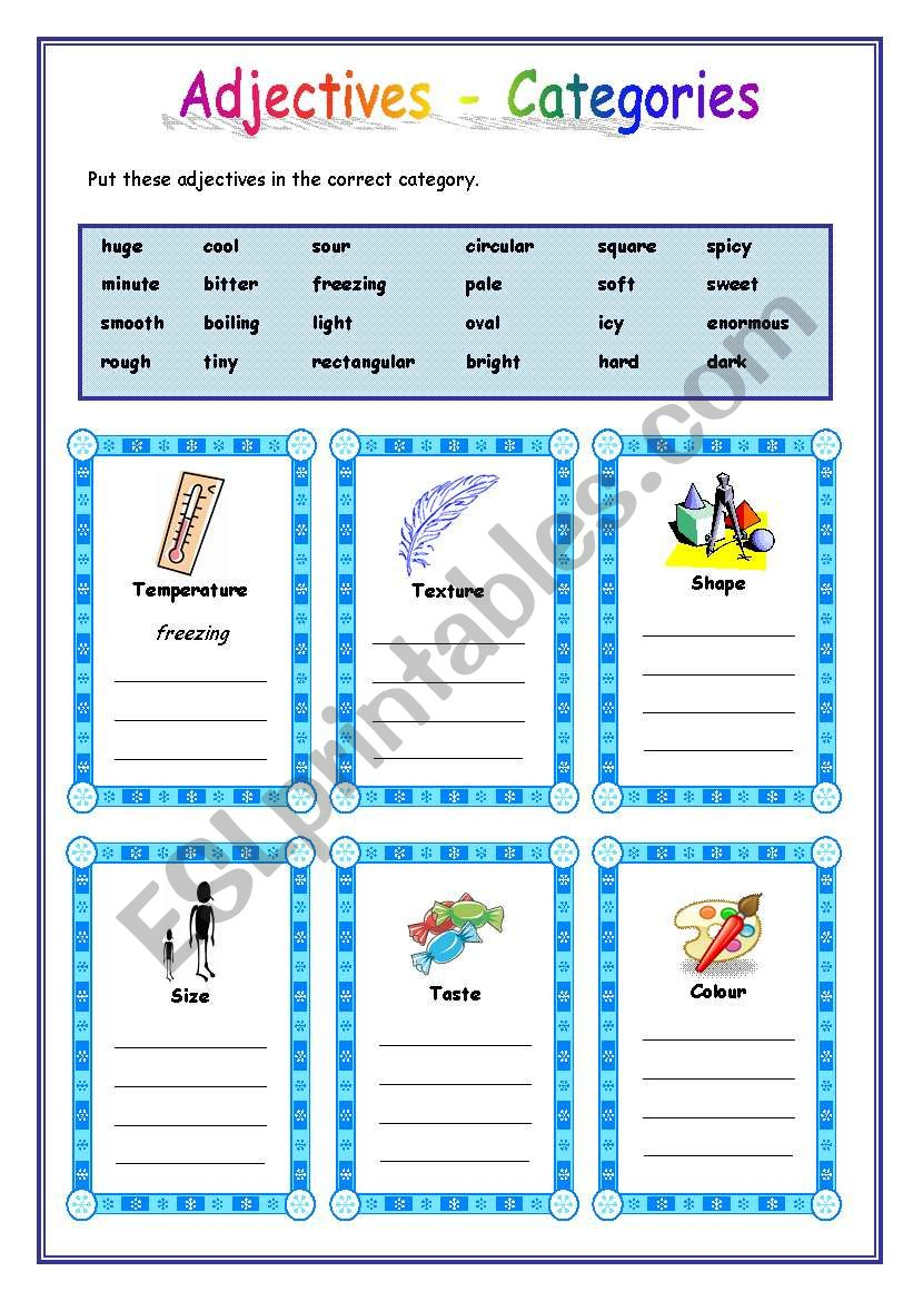 Adjectives categories - ESL worksheet by mpotb