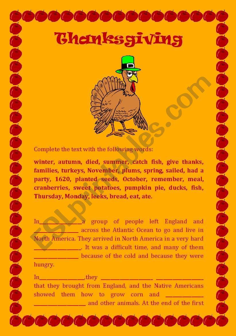 Festivals: Thanksgiving worksheet