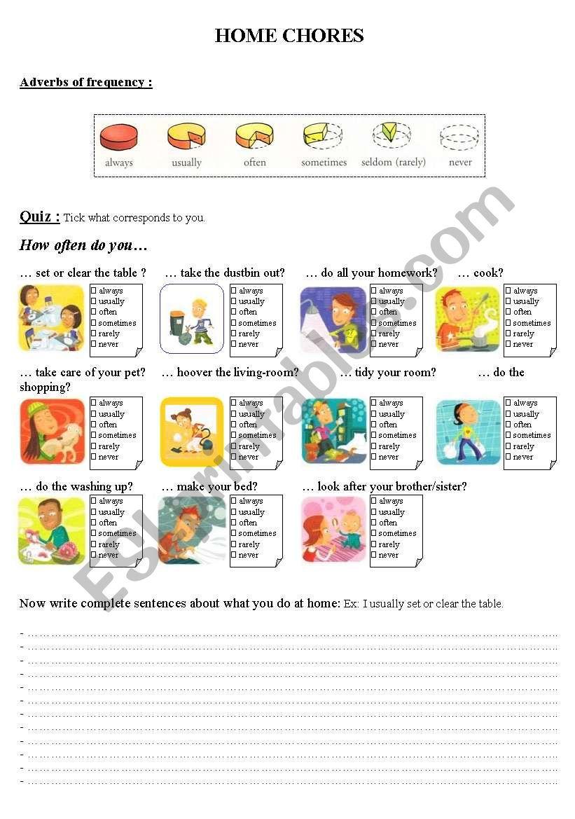 Home chores worksheet