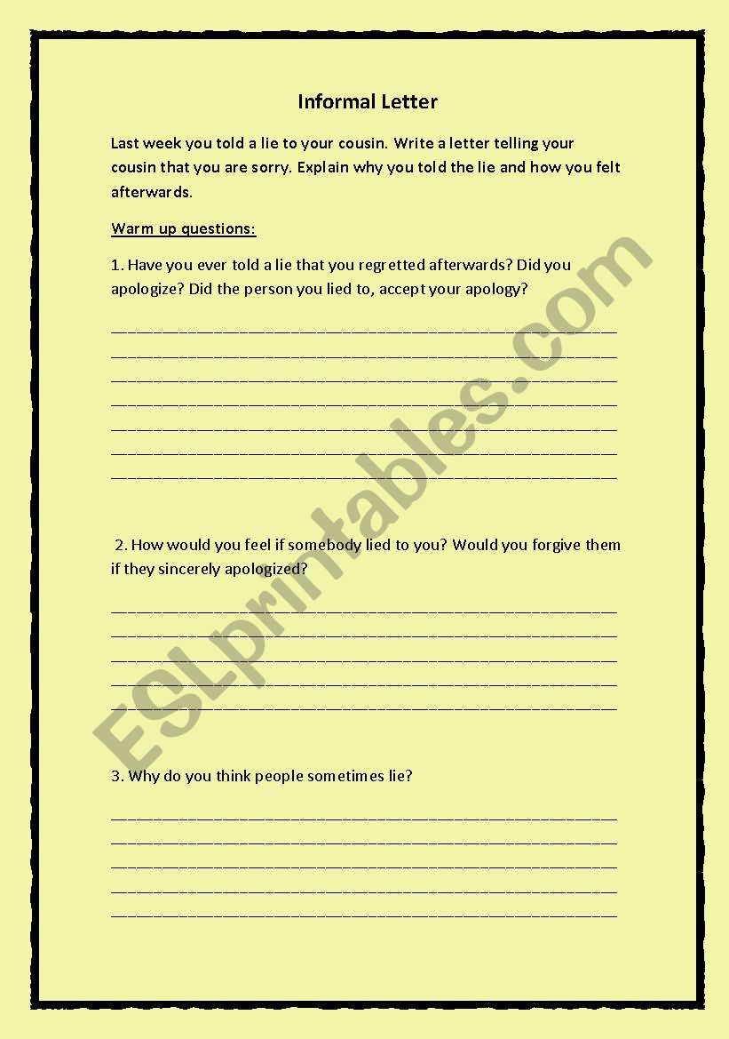 English worksheets: Write a letter telling your cousin that you are