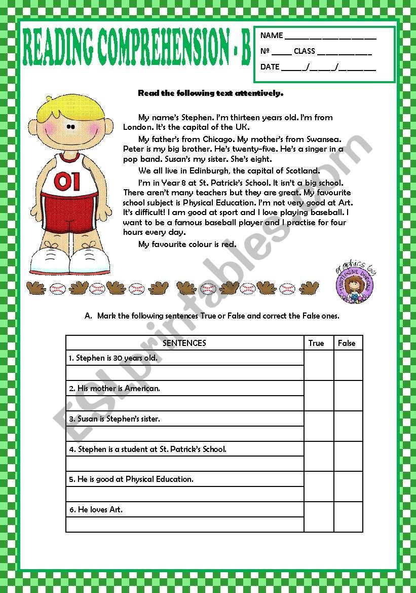 - READING COMPREHENSION B- BEGINNERS + KEY - ESL Worksheet By Macomabi